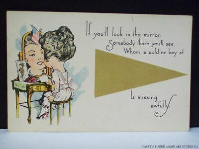 WWI Girl Looking in Mirror Soldier Photo on Vanity Flag US Military Postcard Old