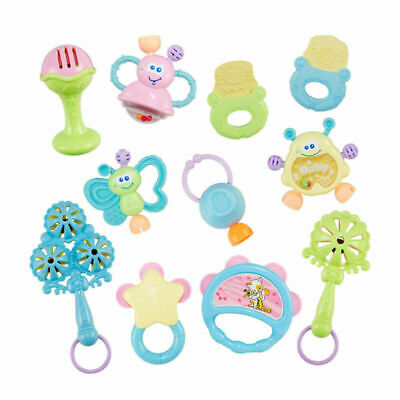 10pcs/set Baby Rattle Teether Infant Toys Hand Shaker Grab Rattle Music Toys