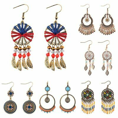 Bohemian Retro Boho Ethnic Tassel Beads Hook Earrings Women Ear Dangle Jewelry
