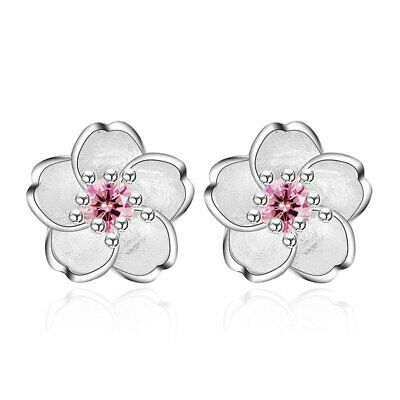 Hot Silver Crystal Cherry Blossoms Flower Ear Stud Earrings For Women Jewelry