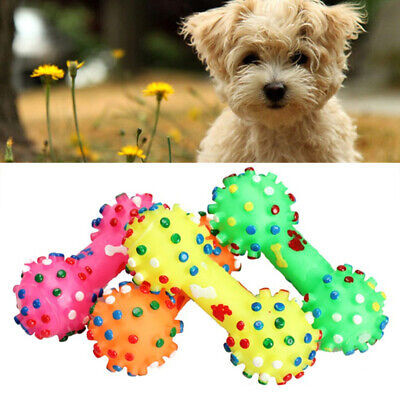 Pet Dog Puppy Cat Chews Toy Rubber Bone Squeaker Squeaky Sound Play Feeder Toys