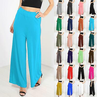 Womens Baggy Wide Legged Ladies Stretchy Trousers Pants Flared Leggings Palazzo