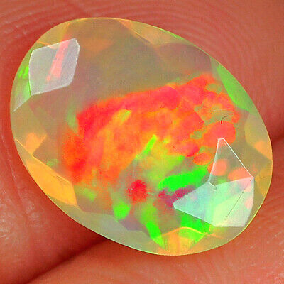 1ct 100% Natural Ethiopian Welo Opal Faceted Cut Play Of Color Qol50 Jewelry & Watches Opal
