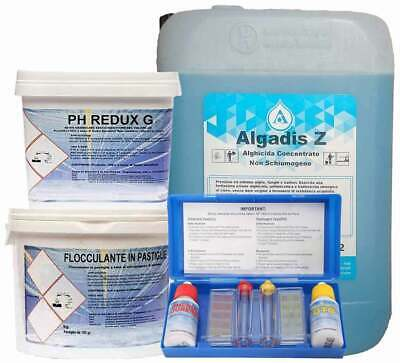 10kg ALGADIS Z + 5kg FLOCCULANTE + 5kg PH REDUX GRANULARE + KIT TEST PH CLORO