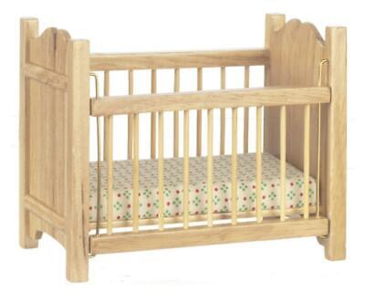 Dolls House Light Oak Cot Crib Miniature Wooden Nursery Baby Furniture 1:12