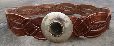 M - New Wide Woven Brown Tan Leather Morocco Belt womens with circle buckle