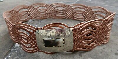 L/XL - New Wide Woven Brown Tan Leather Morocco Belt womens with oblong buckle