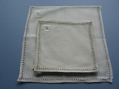 Vintage Set Of Linen Square Table Mats Hand Embroidery & Drawn Threadwork