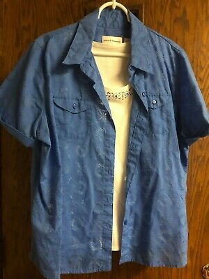 ff1140eb Alfred Dunner Womens Top Size 16 Blue Hawaiian Floral Button Down Shirt  layered