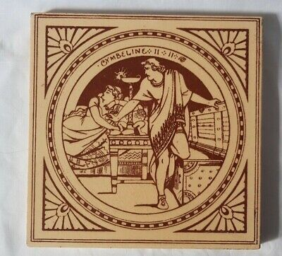 Antique Moyr Smith Minton Cymbeline William Shakespeare Figurative Tile