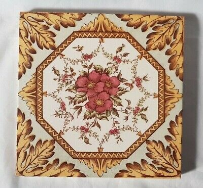 Charming English Olivant Victorian Symmetrical Floral Design Tile. 6 Inches
