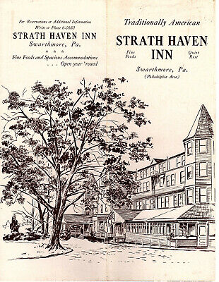 Strath Haven Inn Swarthmore PA Vtge Broch Photos Map Points of Interest 1940's