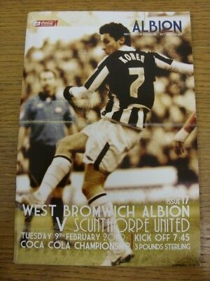 09/02/2010 West Bromwich Albion v Scunthorpe United  . Faults with this item sho