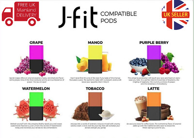 J-FIT POD | GENUINE Juul compatible | 4 x PODS per PACK | 6 FLAVORS 2 0% Mg  USA