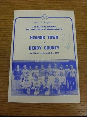 24/03/1981 Heanor Town v Derby County [Opening Of New Floodlights] . Thank you f