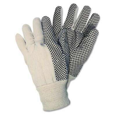 Memphis Dotted Canvas Gloves, One Size, White, 12 Pairs 045143088089