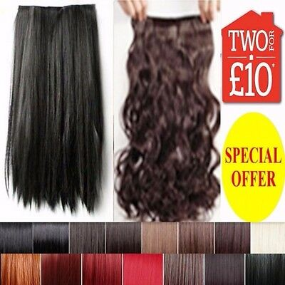 Half Head Hair Extension Curly Straight Clip in Human feel Long Brown Red Plum