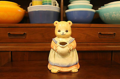 Vintage Takahashi Momma Bear in Dress Water Juice Pitcher Ceramic Hand Painted