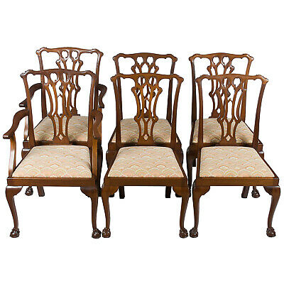 Antique Set of Six Chippendale Mahogany Ball and Claw Foot Dining Room Chairs