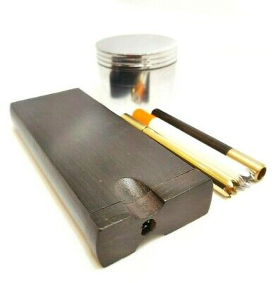 "TOP QUALITY Ebony Dugout One Hitter Set W/ Brass One Hitter, (2"") Metal Grinder"