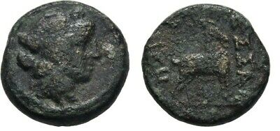 Ancient Greece 187-131 BC MACEDON THESSALONICA DIONYSOS GOAT