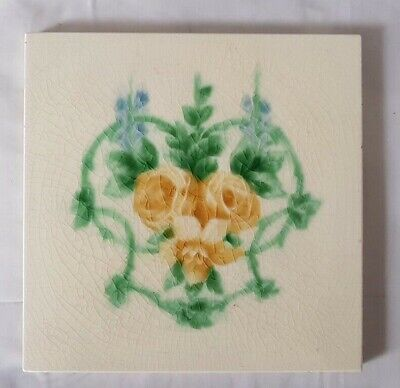 period english pilkington ART NOUVEAU TILE FLORAL PATTERN, VERY COLOURFUL