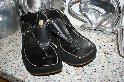 a4a11cb9b3200 Frye Summer Stud Black Leather Platform Wedge Sandals Size 9.5 M Womens  Shoes