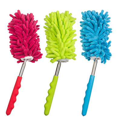 3 Pack Extendable Duster Microfibre Duster Bendable with Washable Duster Head