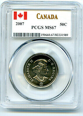 2007 Canada 50 Cent Half Dollar Pcgs Ms67... Worldwide Population Only 18