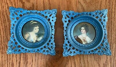 2 Vintage Cameo Creations Lady Portraits