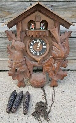 Vtg West German Wooden Black Forest Cuckoo Clock Stag Bachmaier Klemmer Parts
