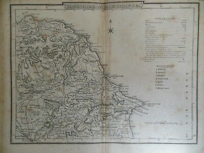 Antiquarian Map of Yorkshire North Riding - c1840 - England - Scarborough/Whitby