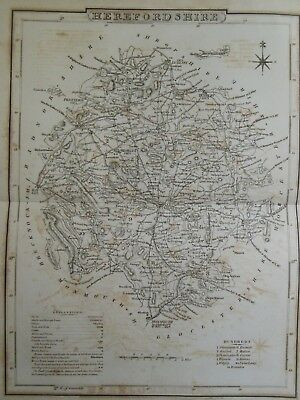 Antiquarian Map of Herefordshire - c1820 - England - Hereford, Leominster, etc