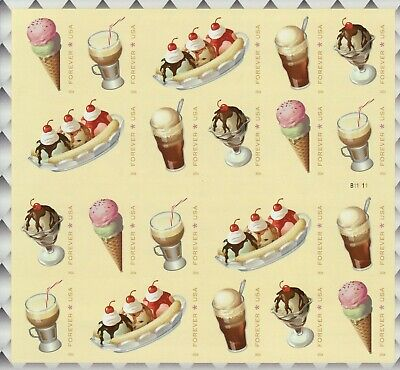 Soda Fountain Favorites  Stamp Sheet -- Usa #5093-5097 Forever 2016 Ice Cream