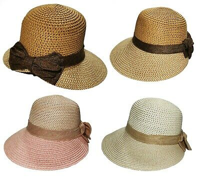 c6fc550e New Ladies Straw Floppy Visor Summer Beach Sun Hat Wide Brim Foldable with  Bow