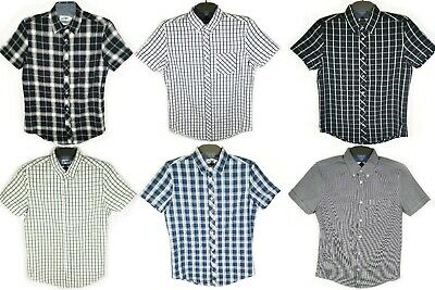 Ex UK Chainstore Top Branded Men's Short Sleeve Check Cotton Summer Casual Shirt