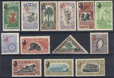 Liberia 1918 official overprint mint set of 13, #O98-110 bird, animals, fish