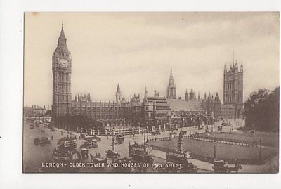 London Clock Tower & Houses of Parliament Vintage Postcard 104a