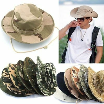 Mens Fishing Hunting Bucket Hat Boonie Military Summer Wide Brim Camo Sun Caps