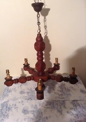 Vintage French Carved Wooden Farmhouse 5 Arm Chandelier Light (2548)