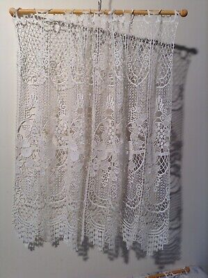 Two Vintage French Cafe Net Curtains with Extendable Cafe Curtain Rods (2628)