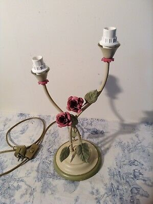 French / Italian Style Rose Tole Toleware Table / Bedside Lamp Light (3028)