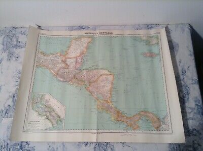 Vintage French Map of Central America - Atlas Universel No 68 (2825)