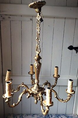 Antique French Large Bronze Ornate 6 Arm Vintage Chandelier (1071)