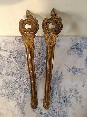 Vintage French Bronze Ormolu Chateau Curtain Rod Brackets Tie Backs Hooks (2521)