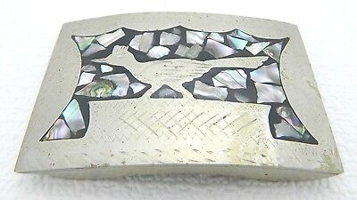VTG Mid Century Mexico Mother of Pearl Abalone Silver Tone Bird Belt Buckle