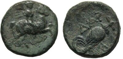 Ancient Greece 4-3 cent BC TROAS DARDANOS RIDER HORSE ROOSTER COCK