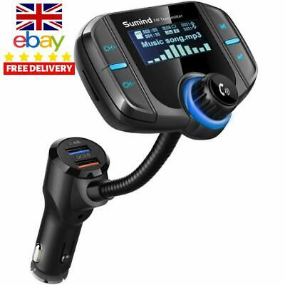 Car FM Bluetooth Transmitter + 2  Smart USB AUX In Out 2.4A Charge Charger Radio