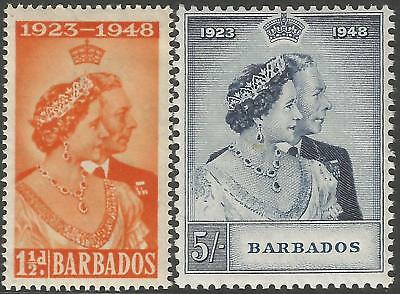 Barbados 1948 KGVI Silver Jubilee set complete unmounted mint SG 265-266