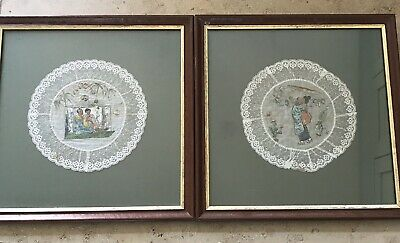 Exquisite Vintage Japanese Painted Pictures On Fabric With Lace Border